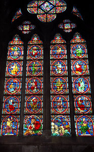 Stain glass window inside Notre Dame - Paris, France ... June 23, 2001 ... Photo by Rob Page III