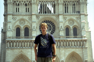 Rob in front of Notre-Dame, Paris - Paris, France ... June 23, 2001 ... Photo by Rob Page III