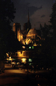 Notre Dame at night - Paris, France ... June 26, 2001 ... Photo by Rob Page III