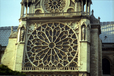 The West Rose Window, 10 metres in diameter, of Notre Dame - Paris, France ... June 23, 2001 ... Photo by Rob Page III