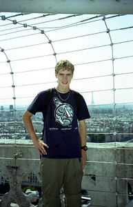 Rob on top of Notre-Dame with the Eiffel Tower in the background - Paris, France ... June 23, 2001 ... Photo by unknown