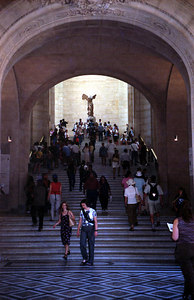 The Winged Victory of Samothrace.  Discovered in 1863, this Greek statue was reconstructed and is prominently displayed in the Louvre. ... June 25, 2001 ... Photo by Rob Page III