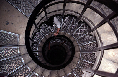 Descending the stairs of the Arc de Triomphe. ... June 25, 2001 ... Photo by Rob Page III