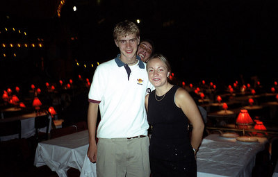 A nice photo with my 'date' to the Moulin Rouge.  I sat with her and her mother. ... June 25, 2001 ... Photo by her mother
