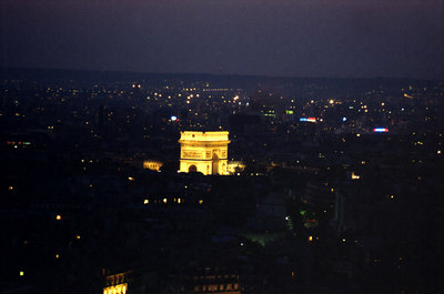 The Arc De Triomphe from the Eiffel Tower. ... June 23, 2001 ... Photo by Rob Page III