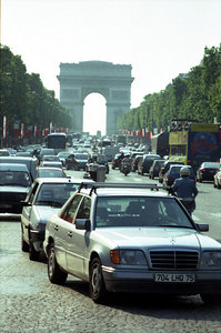 The Champ D'Elysee radiating from the Arc De Triomphe. ... June 23, 2001 ... Photo by Rob Page III