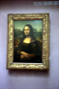 La Gioconda - also known as the Mona Lisa.  It was painted by Leonardo da Vinci in 1506 and is now encased within bulletproof glass. ... June 25, 2001 ... Photo by Rob Page III