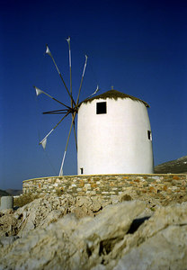 A Greek windmill - Paros, Greece ... July 19, 2001 ... Photo by Rob Page III