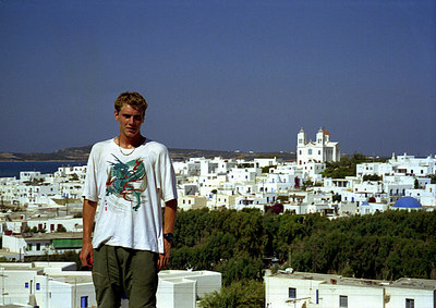 Rob and Naoussa in the background - Paros, Greece ... July 19, 2001 ... Photo by Rob Page III
