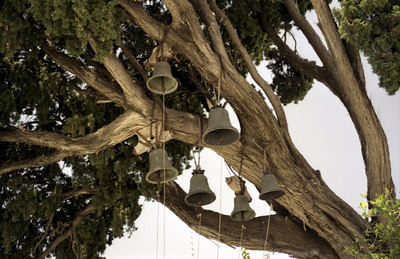 """Some of the bells at the church Ekatontapylan which means """"the Church with the 100 doors."""" - Parikia; Paros, Greece ... July 19, 2001 ... Photo by Rob Page III"""