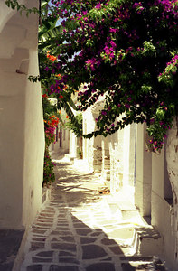 One of the back streets in Parikia - Paros, Greece ... July 19, 2001 ... Photo by Rob Page III