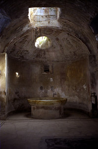 The men's calidarium, or hot bath, of the Forum Baths was heated by a system of double walls and hollow floor, which provided circulation of hot air and steam - Pompeii, Italy ... July 14, 2001 ... Photo by Rob Page III