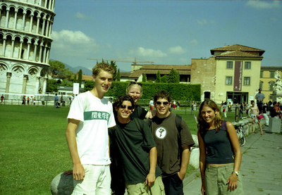 Rob with Jon, Muffy, Mark, and Joe at the Leaning Tower of Pisa - Italy. ... July 11, 2001 ... Photo by Rob Page III