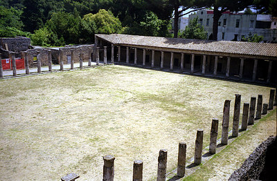 An open area adjacent to the Large Theatre for intermission.  During warring periods it was used as a training ground - Pompeii, Italy ... July 14, 2001 ... Photo by Rob Page III