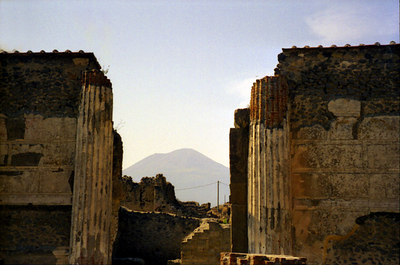 Vesuvius looms in the distance - Pompeii, Italy ... July 14, 2001 ... Photo by Rob Page III