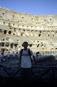 Rob inside of the Colosium - Rome, Italy ... July 13, 2001 ... Photo by Rob Page III