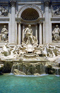 Trevi Fountain.  Built in 1751 it is Rome's most famous fountain.  Don't forget to make a wish and toss in a coin - Rome, Italy ... July 13, 2001 ... Photo by Rob Page III