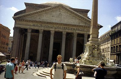 Rob in front of the Pantheon, rebuilt in 125.  Originally a Catholic church it is now home to Italy's Tomb of the Unknown Soldier - Rome, Italy July 13, 2001 ... Photo by unknown tourist.