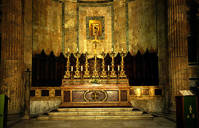The main altar at the Pantheon - Rome, Italy ... July 13, 2001 ... Photo by Rob Page III