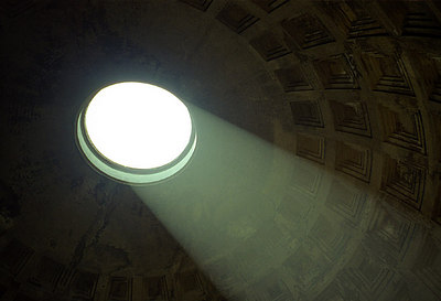 The sun flows in through the oculus at the top of the Pantheon - Rome, Italy ... July 13, 2001 ... Photo by Rob Page III