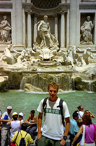Rob in front of the Trevi fountain.  We'll just have to see if my wish comes true - Rome, Italy. ... July 13, 2001 ... Photo by unknown tourist