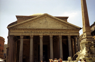 The Pantheon, rebuilt in 125.  Originally a Catholic church it is now home to Italy's Tomb of the Unknown Soldier - Rome, Italy July 13, 2001 ... Photo by Rob Page III