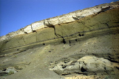 The layers of strata on this volcanic island - Santorini, Greece ... July 21, 2001 ... Photo by Rob Page III
