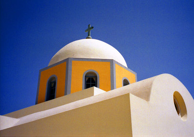 Greek Church - Santorini, Greece ... July 21, 2001 ... Photo by Rob Page III