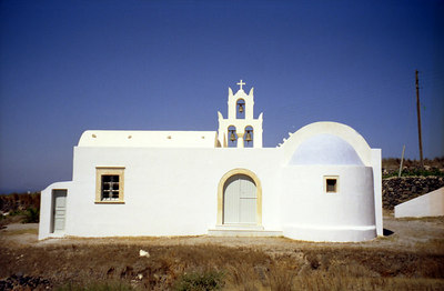 Greek church - Santorini, Greece ... July 22, 2001 ... Photo by Rob Page III