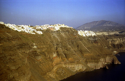 Thira and the other towns of Santorini stand on the cliff's edge - Santorini, Greece ... July 21, 2001 ... Photo by Rob Page III