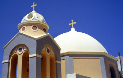 Greek Church - Santorini, Greece ... July 23, 2001 ... Photo by Rob Page III