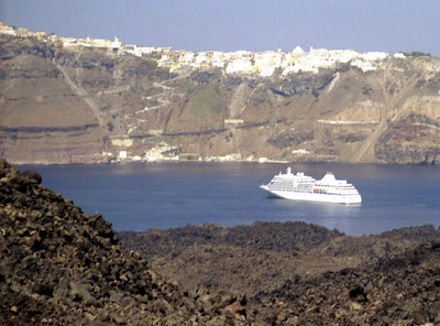 A cruise ship drops anchor - Santorini, Greece ... July 22, 2001 ... Photo by Rob Page III