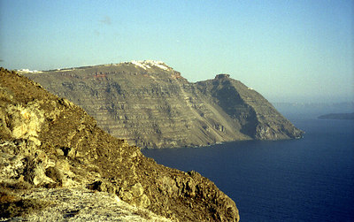 The towns of Santorini hang on the cliff's edge - Santorini, Greece ... July 21, 2001 ... Photo by Rob Page III