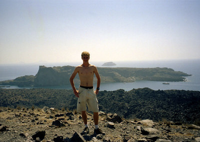 Rob in Santorini - Santorini, Greece ... July 22, 2001 ... Photo by unknown