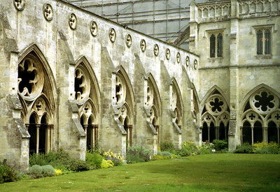 The cloisters of the Salisbury Cathedral.  Built from 1075-1092.  The cathedral now houses the Magna Carta. ... June 19, 2001