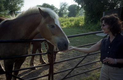 Sue, Nichole's aunt who I was staying with, feeding the horse. ... June 19, 2001