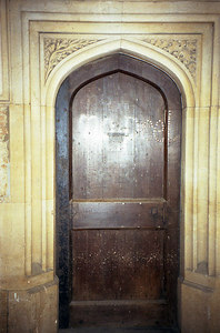 """""""No Peel"""" door at Christ Church College, so marked because of an undergraduate protest from 1829 against Sir Robert's Peel's plans for Catholic emancipation. ... June 20, 2001 ... Photo by Rob Page III"""