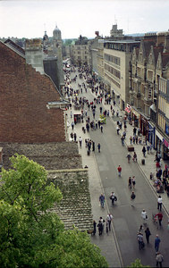 The view down the main street in Oxford from the top of Carfax Tower. ... June 20, 2001 ... Photo by Rob Page III
