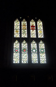 Stain glass windows in the cafeteria of Christ Church College in Oxford, England.  There are images from Alice's Adventures in Wonderland in the window. ... June 20, 2001 ... Photo by Rob Page III