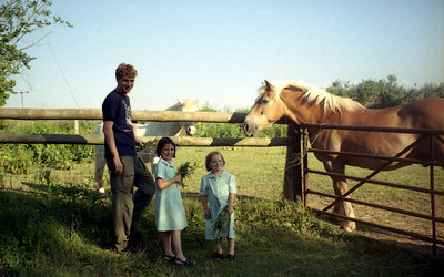 Rob feeding the horses with Sue's children. ... June 19, 2001