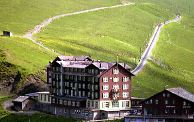 """Kleine Scheidegg.  This the last major stop on the cogwheel railway before going to """"The Top of Europe."""" Jungfraujoch, Switzerland. ... July 2, 2001 ... Photo by Rob Page III"""