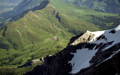 Kleine Scheidegg from the top of the Jungfrau. ... July 3, 2001 ... Photo by Rob Page III