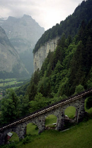 The tram tracks that link Lauterbrunnen and Grutschlap - Switzerland. ... July 3, 2001 ... Photo by Rob Page III