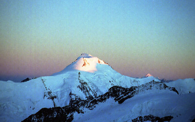 Aletschhorn at sunset. ... July 2, 2001 ... Photo by Rob Page III