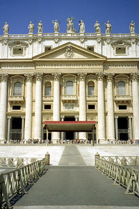 The front of St. Peter's in the Vatican City. ... July 12, 2001 ... Photo by Rob Page III