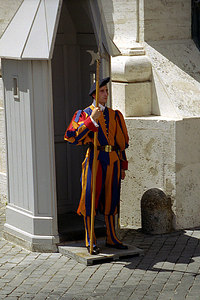 One of the Swiss Guards who have protected the Vatican City since 1506 - Vatican CIty. ... July 12, 2001 ... Photo by Rob Page III