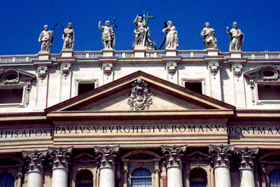 The facade of St. Peter's where Pope John Paul gives his sermons - Vatican City. ... July 12, 2001 ... Photo by Rob Page III