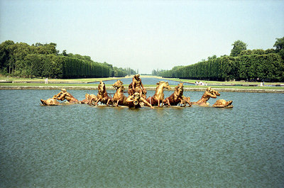 Chateau of Versailles, gardens, Bassin d'Apollon.  This is the 'bassin' (=pool) dedicated to the god Apollo, the King Sun's alter ego. ... June 26, 2001 ... Photo by Rob Page III