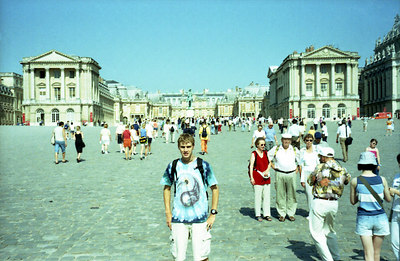 Rob in front of the main entrance of Versailles. ... June 26, 2001 ... Photo by Japanese tourist