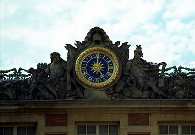 The clock on top of Versailles. ... June 26, 2001 ... Photo by Rob Page III